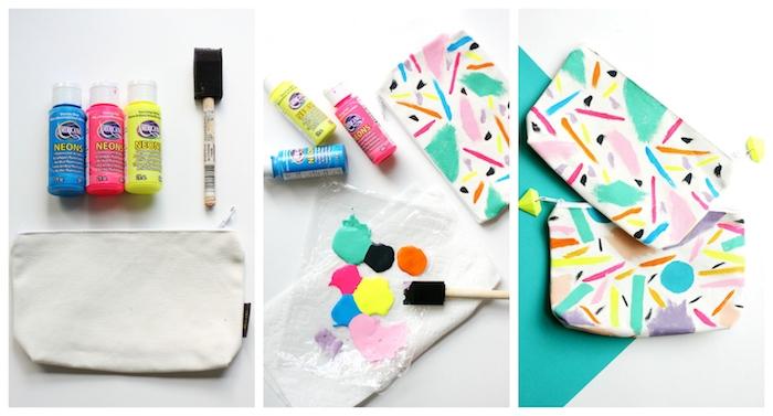 trousse maquillage blanche personnalisée de touches et de motifs en peinture de couleurs diverses, idée cadeau pour sa copine