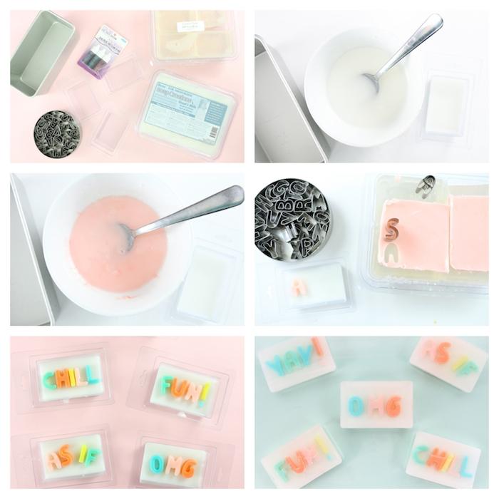 fabrication du savon en base de savon blanche colorée en rose avec des lettres de savon colorées