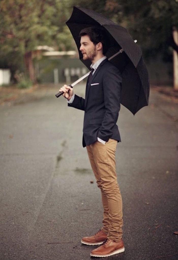 idée de tenue casual mais habillée homme pour un mariage avec chino sim et veste de costume marine