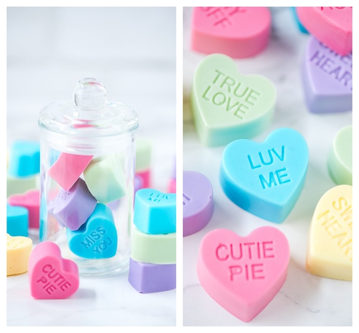 cadeau saint valentin a faire soi meme, petit savon fait main en forme de coeur avec un message en lettres gravé