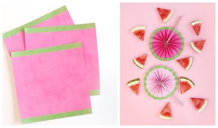 fabriquer un éventail soi meme en papier rose décoré de washi tape vert et touches de peinture noires, batonnets de bois pour plier