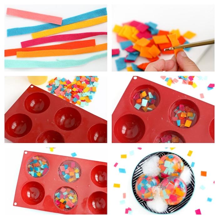 fabrication du savon transparent en glycérine avec des confettis en bandes de feutrine colorées