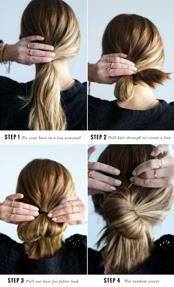 chignon boho facile à faire, coiffure immédiate avec un élastique et deux pinces