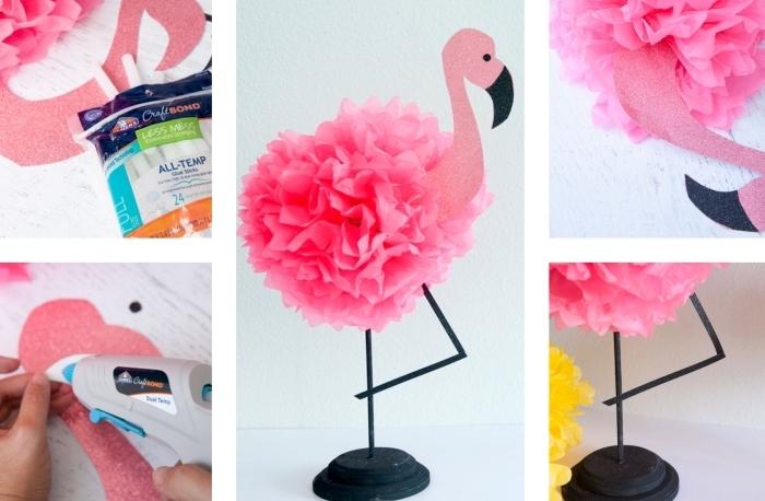 activités manuelles enfants, figurine décorative en papier crépon et plastique à design flamant rose, objet déco chambre ado DIY