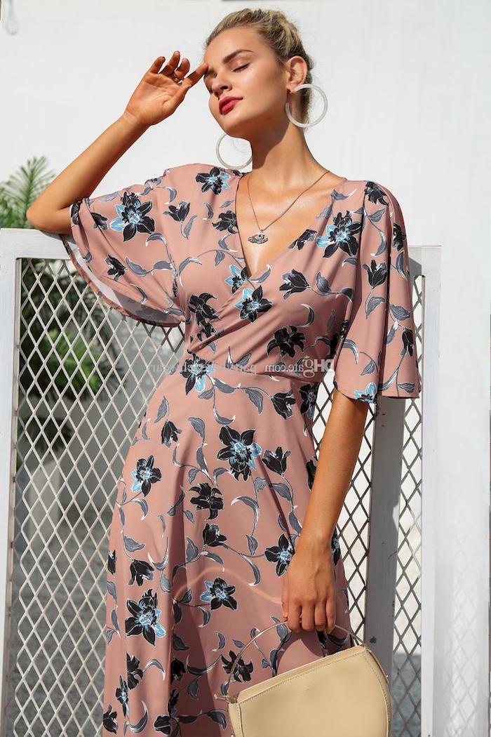 Tenue femme pour mariage robes habillées pour mariage robe blanche chic robe rose pale avec manche robe fleurie