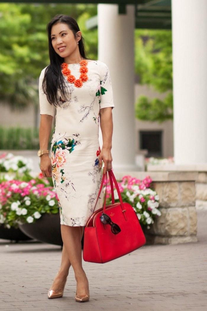 Tenue mariage invitee femme robes originales habillées robe légère d'été robe moulante blanche à fleur