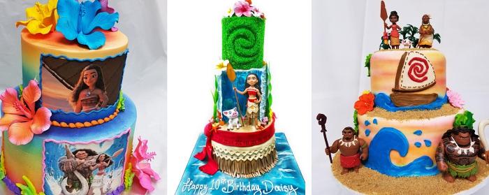 exemples comment faire un gateau au chocolat anniversaire Disney sur le thème Vaiana, modèle gâteau design arc en ciel avec déco vaiana