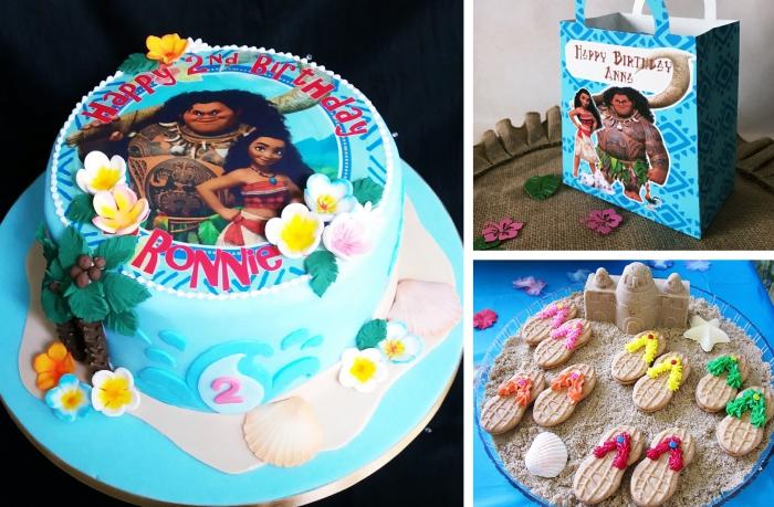 exemple gateau d anniversaire fille avec décoration à design océan en fondant bleu turquoise avec petites fleurs en pâte sucre