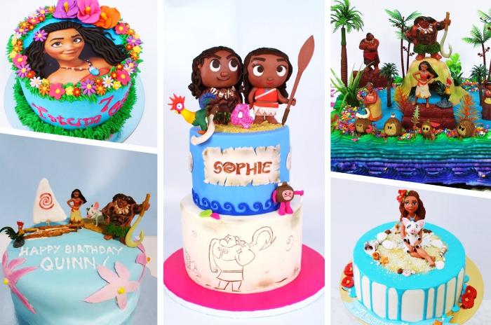 plusieurs modèles de deco anniversaire vaiana, modèles de gâteau sur le thème princesse Vaiana et Maui du dessin animé de Disney