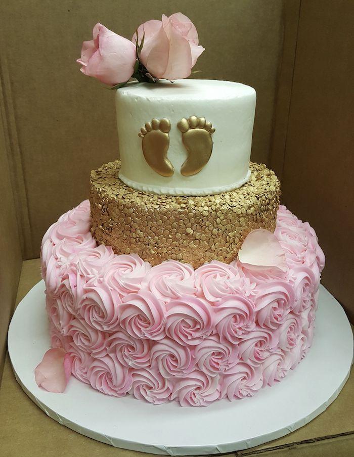 Gateau baby shower fille gâteau baby shower gateau bapteme décoration roses de crème rose réel en top trois étages