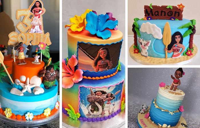 modèles de gateau au chocolat anniversaire sur le thème de Disney à design Vaiana et Maui, déco gâteau design arc en ciel