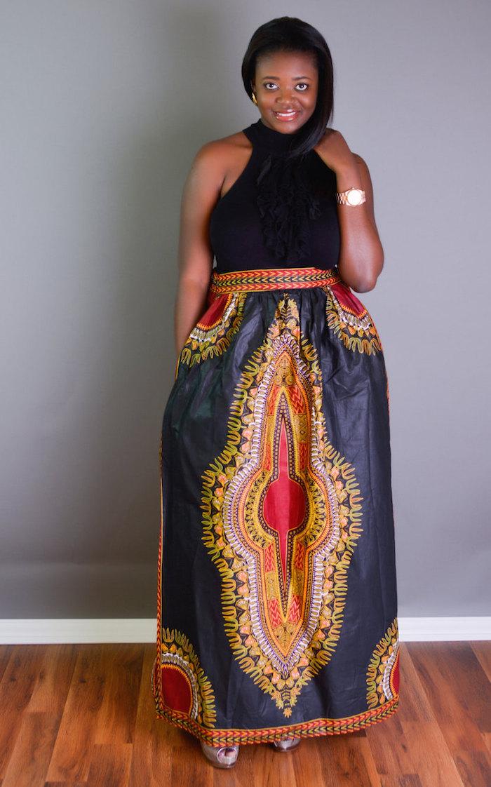 jupe wax longue aux cheville tissu wax style soie bleu marine et doré avec haut noir
