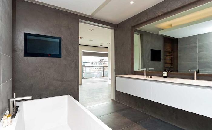enduit beton pour murs de salle de bain renovation sdb moderne contemporaine