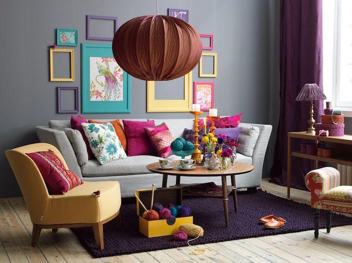 Déco séjour décorer son salon amenager petit salon quelle déco choisir cadre photo coloré salon déco originale