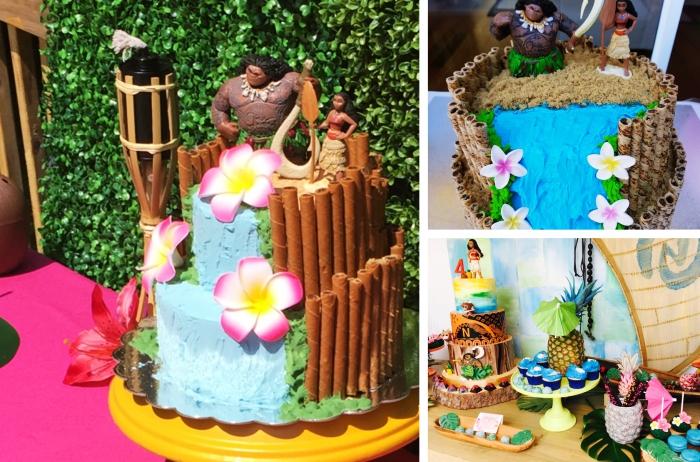variantes pour gateau d anniversaire fille sur le thème dessin animé Vaiana, gâteau deux étages à design cascade avec figurine des personnages vaiana