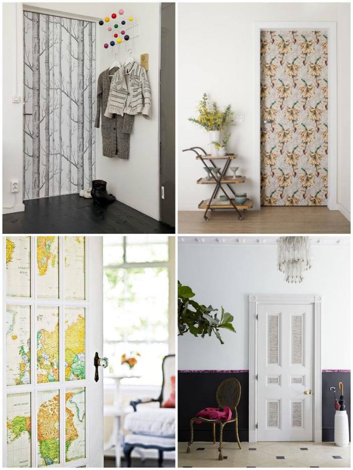idées d'habillage de porte intérieure avec du papier peint imprimé original ou des stickers autocollants, pour créer une ambiance particulière dans la chambre