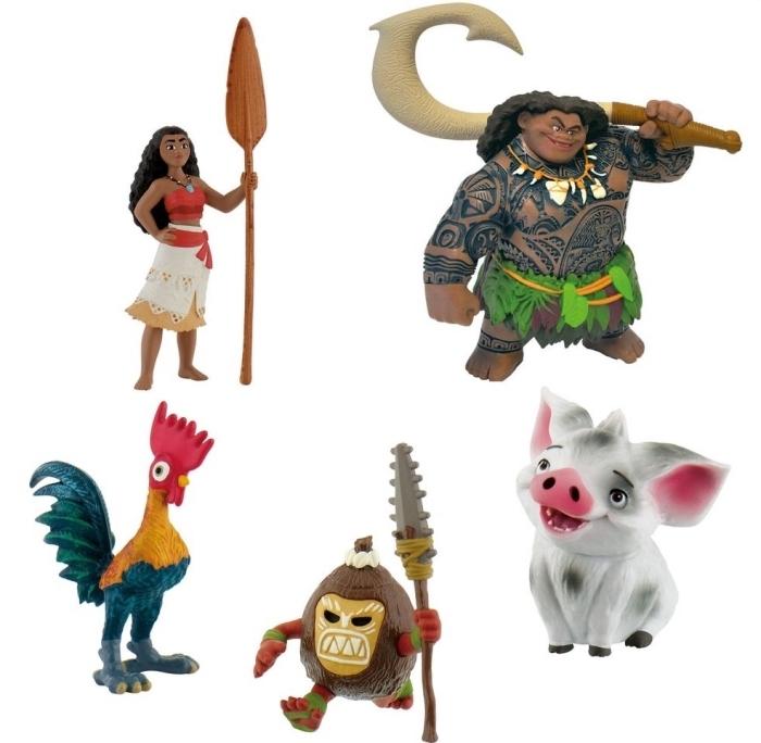 modèles de figurines des personnages de Vaiana pour la décoration d'un gâteau anniversaire enfant sur le thème Disney