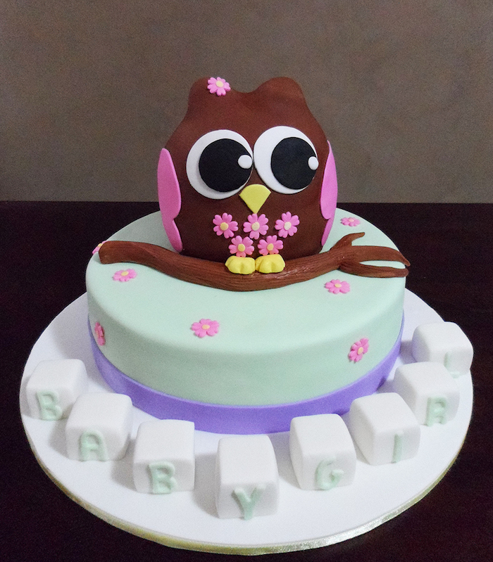 Délicieux gâteau hibou sur branche baby shower décoration femme enceinte gateau baby shower gâteau bébé adorable hibou fille