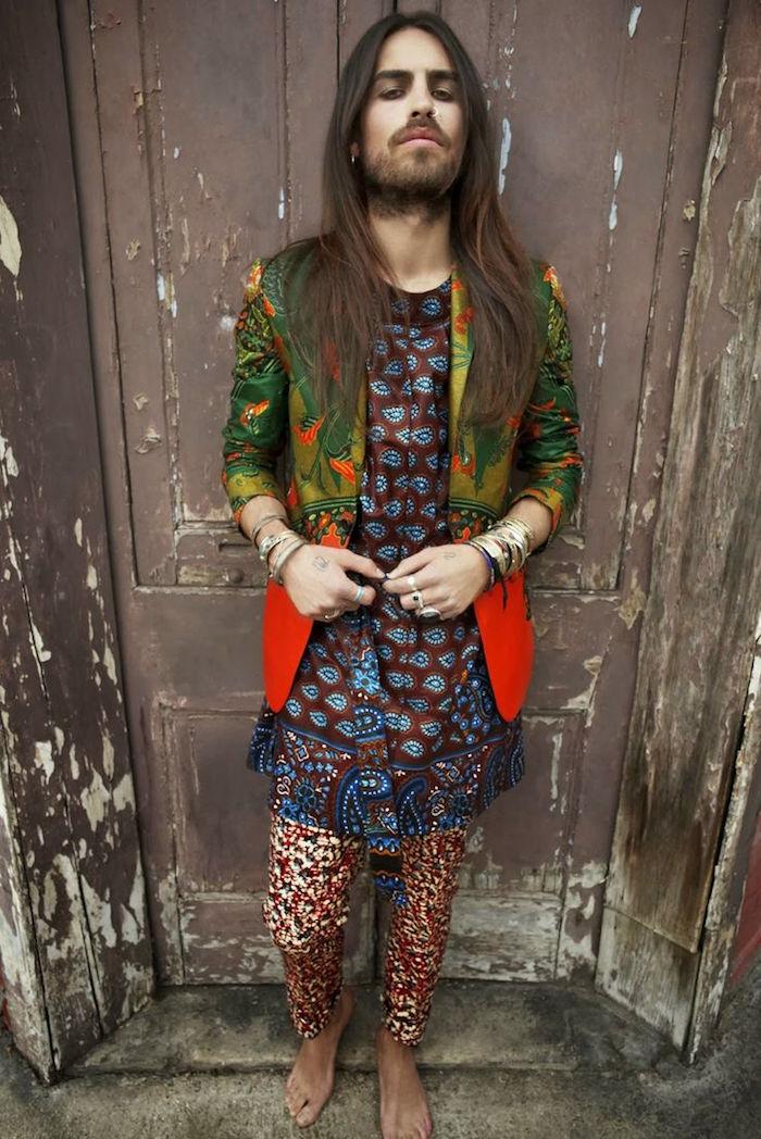 Woodstock Chic Pour Tenue Avec Retro Hippie Fleurs Style Couleurs Modele Vetement De Homme UT4Cnqap