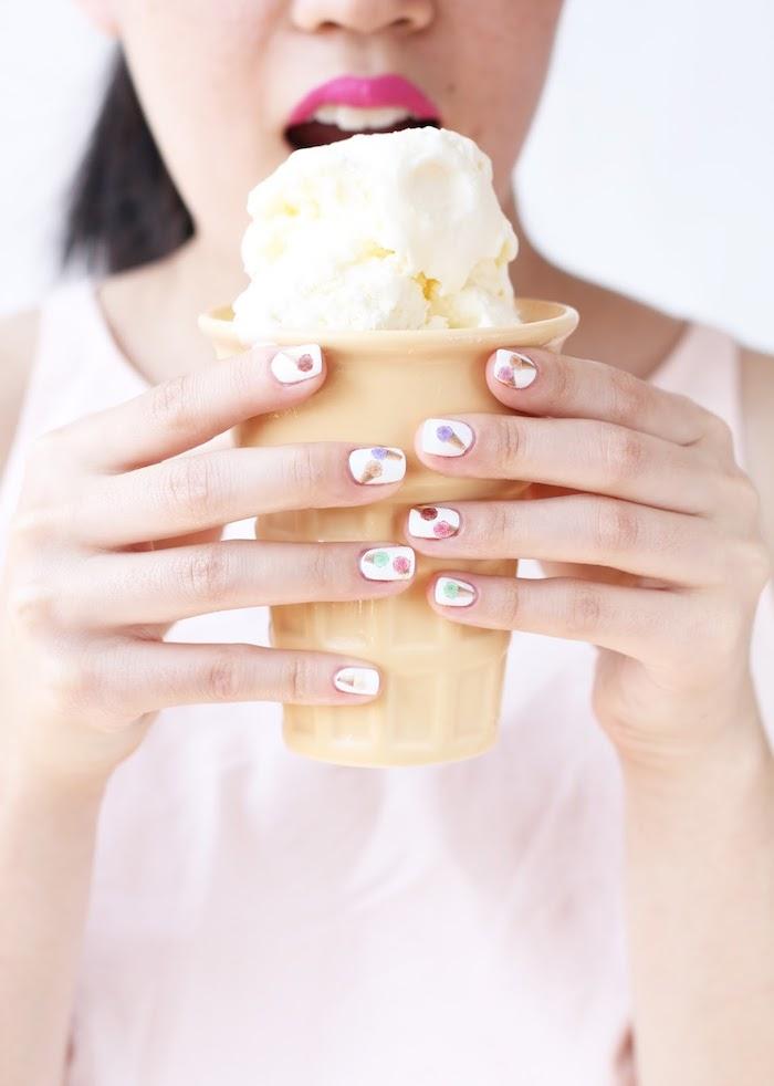 Glace dessin pour manucure couleur, deco ongle gel, modele ongle gel 2018 femme, nail art en gel