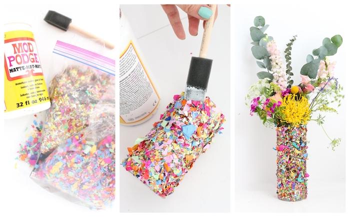 vase simple décoré de confettis colorés, activité manuelle facile et rapide, centre de table floral, cadeau anniversaire femme