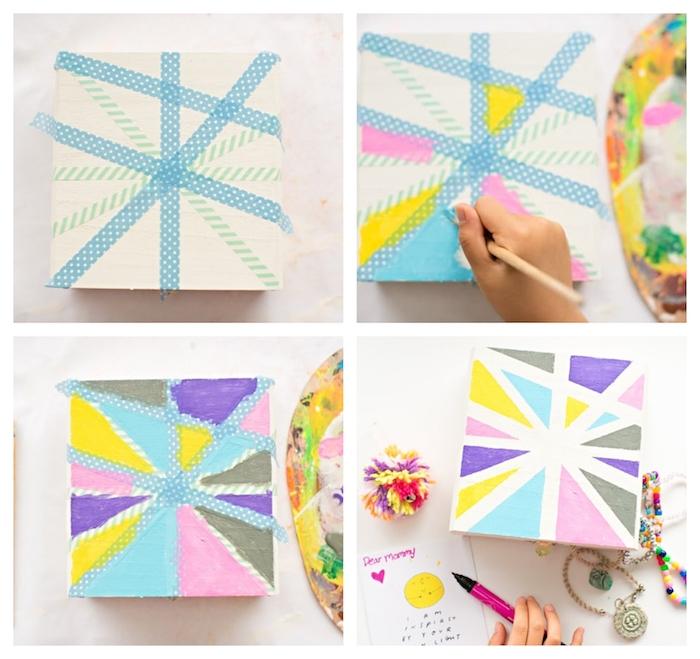boîte à bijoux diy décorée de triangles colorés en peinture réalisés à l'aide de washi tape, cadeau meilleure amie et soeur
