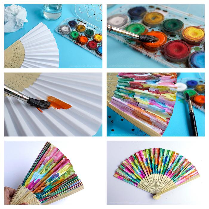 idée d eventail personnalisé de peinture colorée de diverses couleurs, activité manuelle adulte