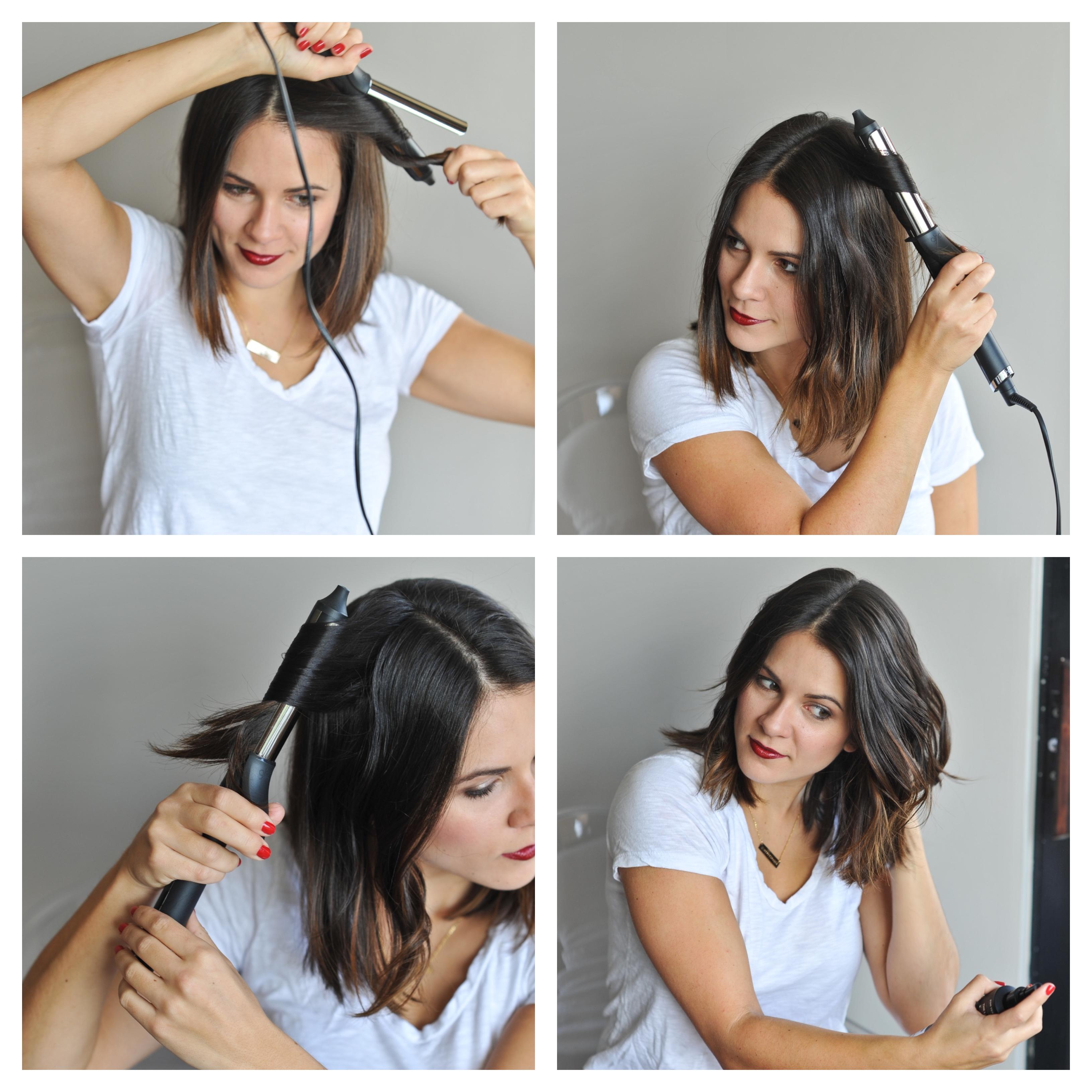 comment onduler ses cheveux avec un fer à boucler, idée de boucles sur cheveux en carré flou