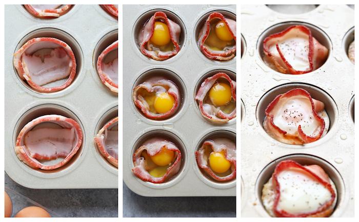 comment faire un petit déjeuner protéiné avec bacon, lardes et oeufs dans un moule à muffins