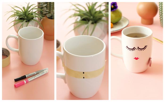 comment customiser un mug blanc d un dessin fille des yeux avec des cils et lèvres, cadeau a fabriquer pour sa meilleure amie