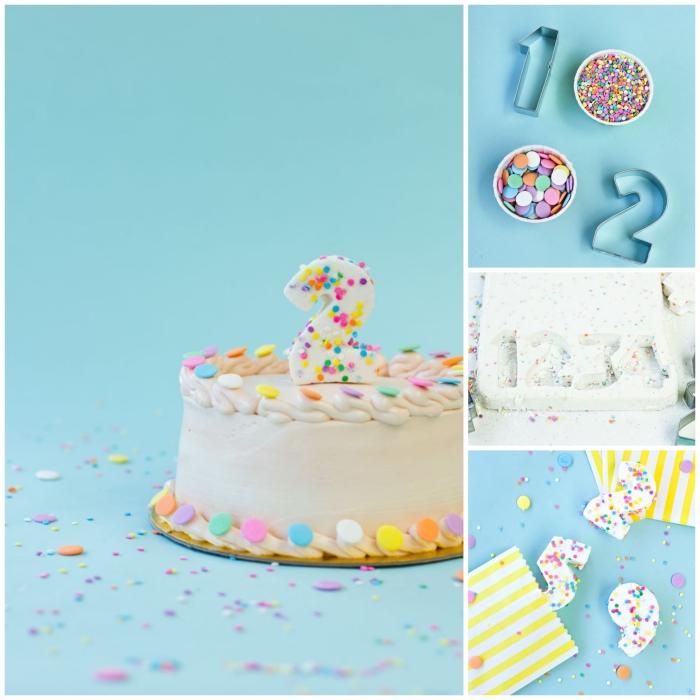 jolie décoration gateau anniversaire de conffetis en sucre et de bougies chiffres à la guimauve