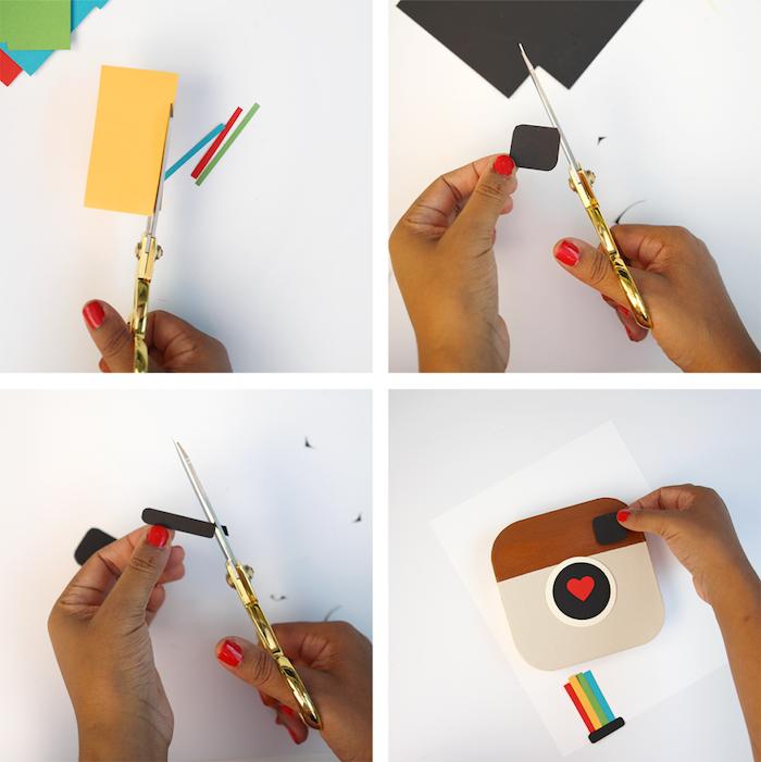 cadeau soeur de coeur, boîte à photos instagram personnalisé e papier coloré, activité manuelle adulte