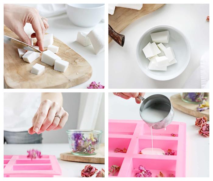 fabriquer son savon à l aide bricolage simple avec savon au lait de chèvre et de pétales de rose séchées