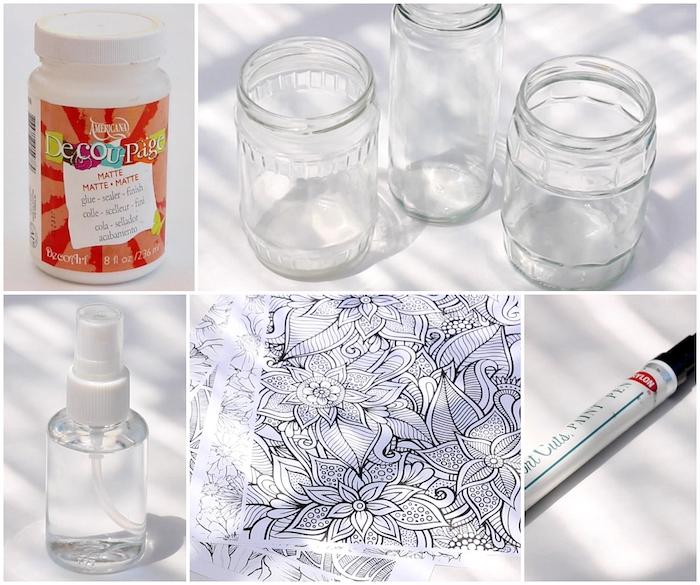 pot à crayon diy décoré de papier mandala à décorer, customiser, idée cadeau pour sa copine intéressant