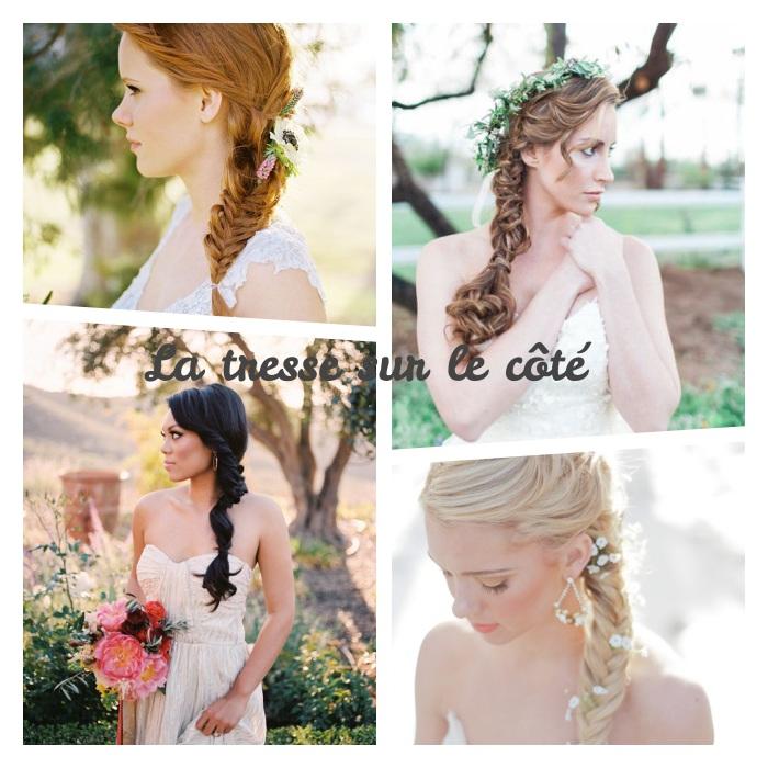 exemple de coiffure mariage tresse avec une tresse latérale de côté, couronne de fleurs ou de simples petites fleurs dans les cheveux