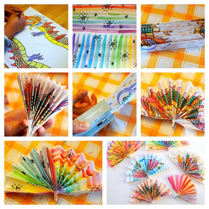 eventail papier blanc décoré de dessin enfant aux feutres, pliage en accordéon, attachement en bas