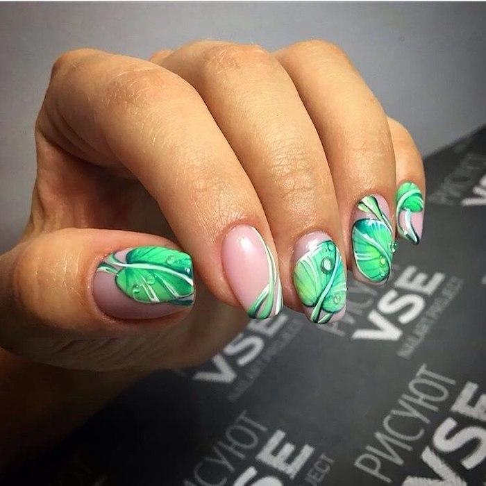 Deco ongle gel, idée manucure vernis gel, modele ongle nail art, beaute féminine, feuilles vertes de nénuphar