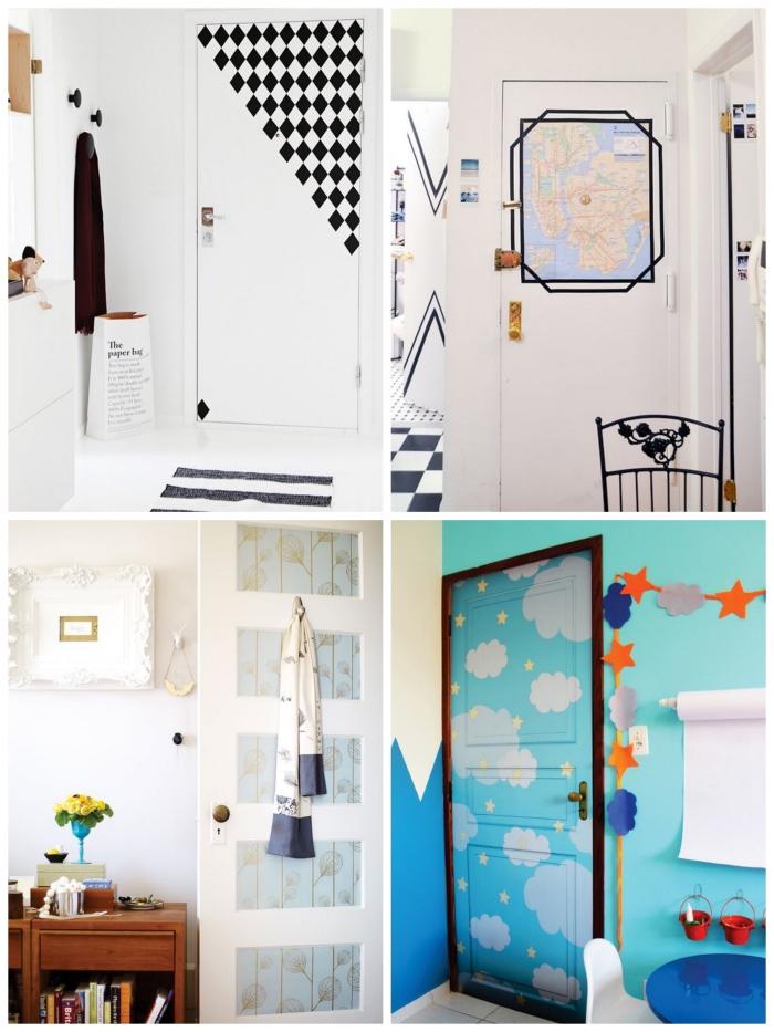 idées de decoration de porte avec du papier peint, masking tape ou de la peinture au pochoir pour un relooking de chambre à petit budget