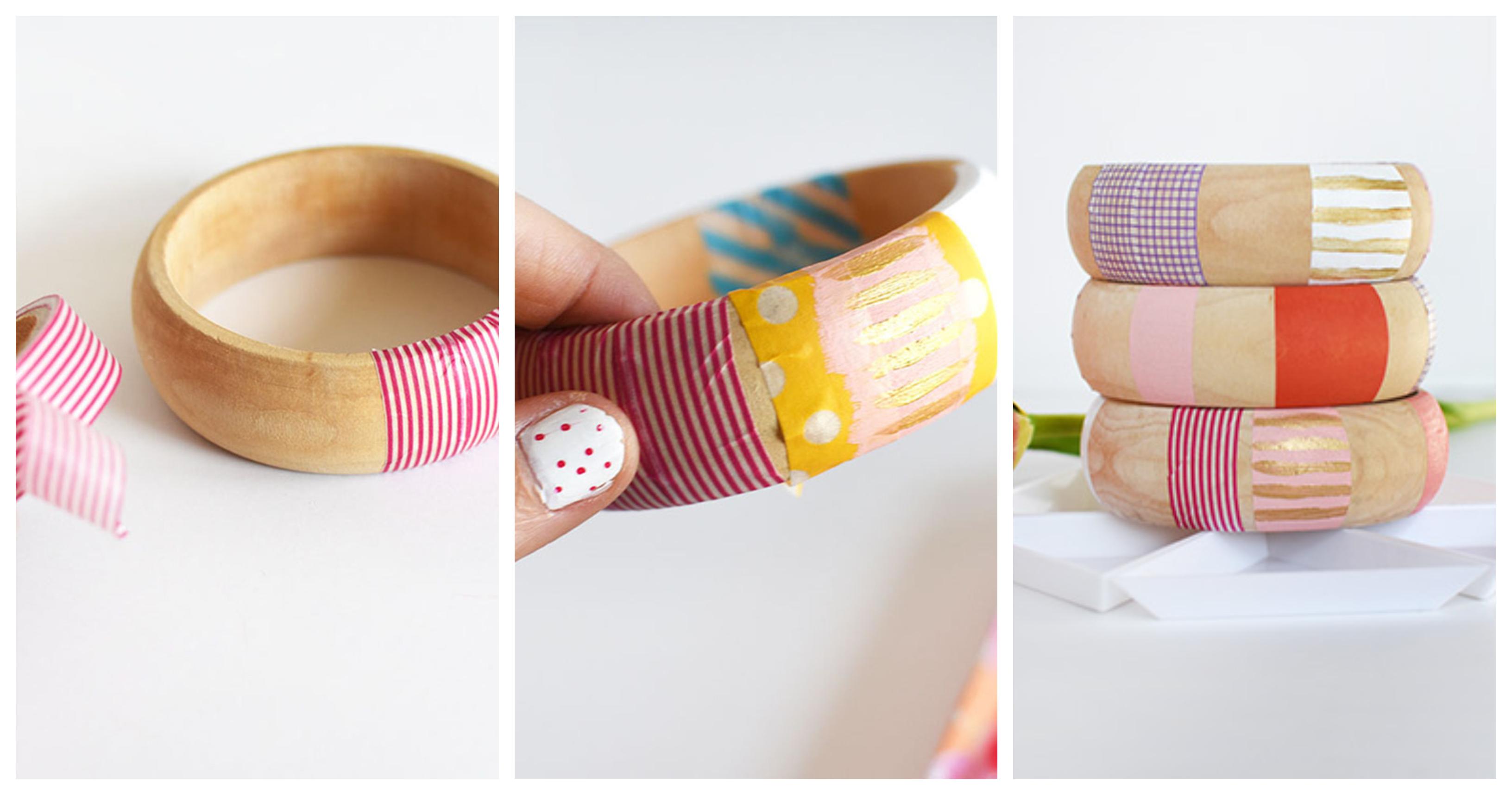 quelle idée cadeau soeur réaliser pour son anniversaire, bracelet en bois décoré de washi tape et bandes de peinture