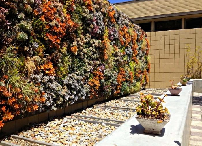un jardin vertical aménagé dans le jardin qui agit comme un véritable cloture vegetale qui préserve l'intimité du lieu