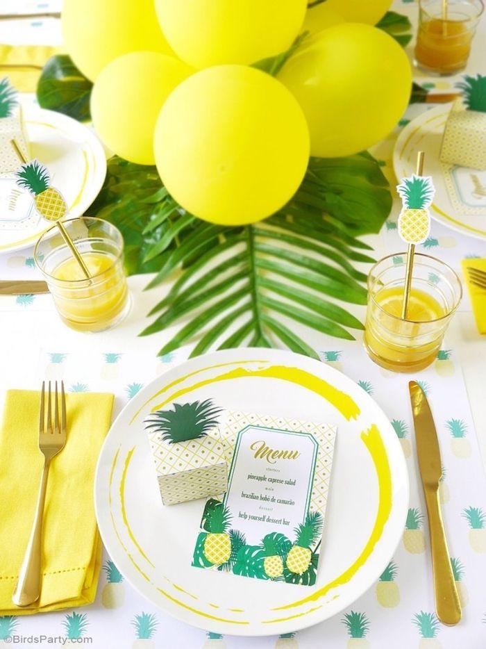 Idee deco a faire soi meme déco anniversaire à faire soi même simple diy jaunes ballons ananas theme