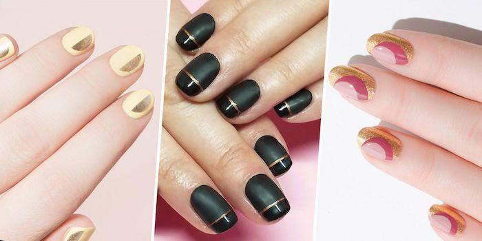 Courte manucure couleur, ongle gel couleur noir ou jaune, tout avec détails dorés, deco ongle en gel, choisir un design simple et beau