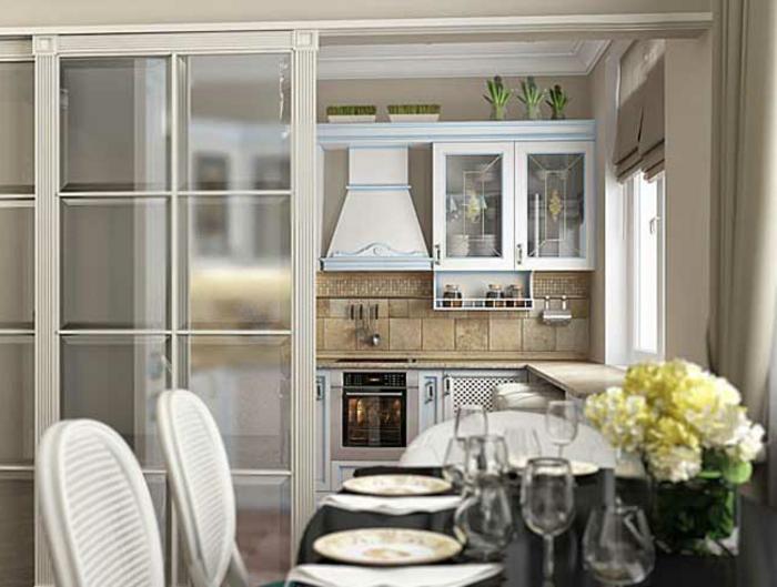 cloison verriere blanche de cuisine, table à manger ovale, chaises blanches, crédence de cuisine carrelage beige