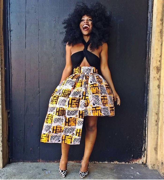 jupe africaine wax design mode double longueur asymétrique jaune et grise avec haut top noir