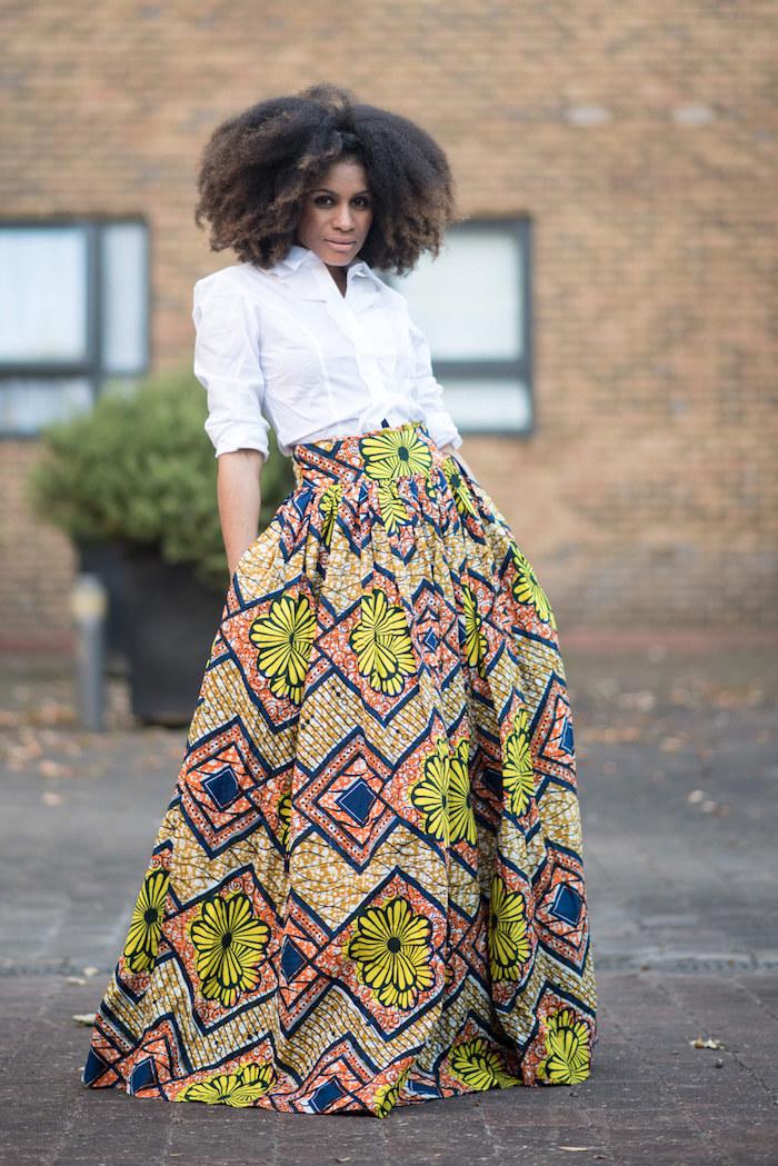 robe africaine moderne longue jupe wax ankara beige et jaune avec chemisier blanc