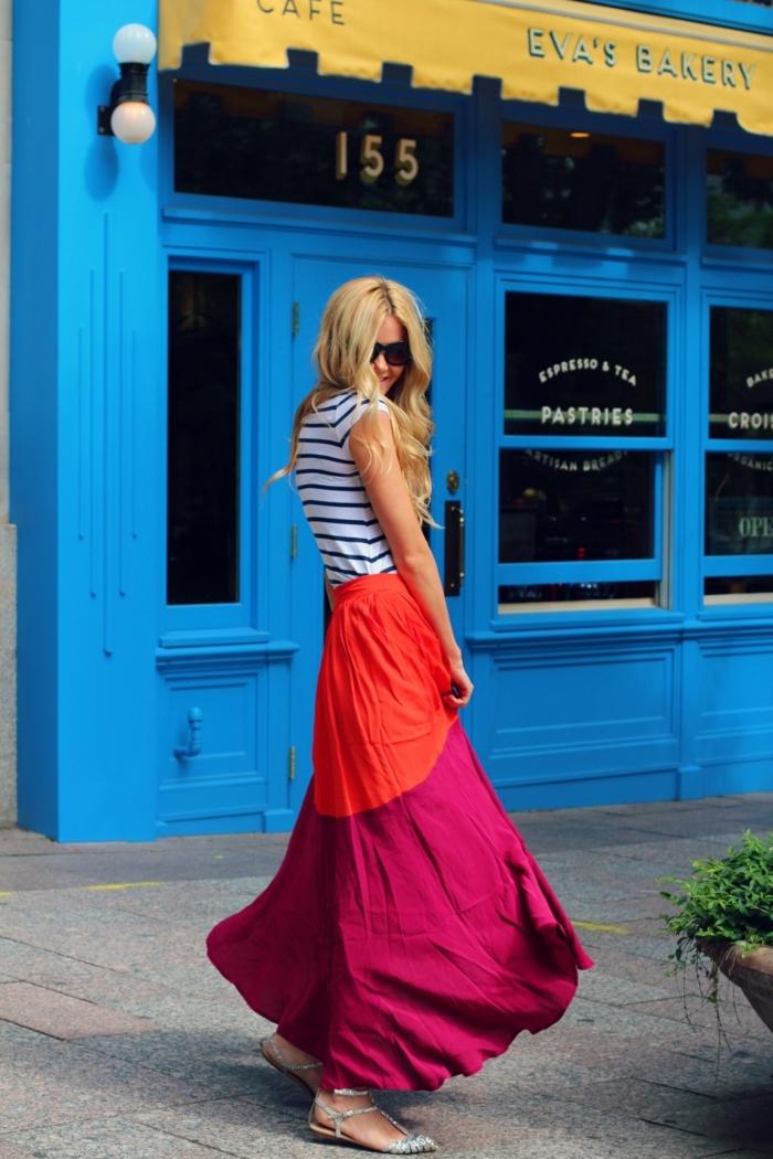 juoe longue taille haute en deux couleurs, blouse à rayures, outfit d'été original
