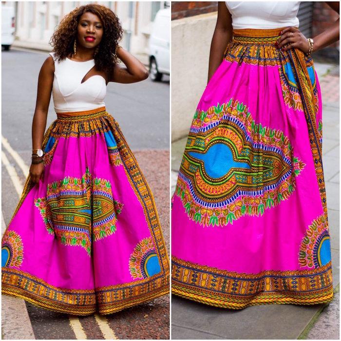 jupe motif ethnique africain afrique inde rose et or coupe ample et longue en pagne