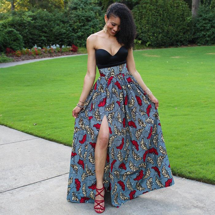 longue jupe fendue gris et rouge wax vetement de soirée mode africaine