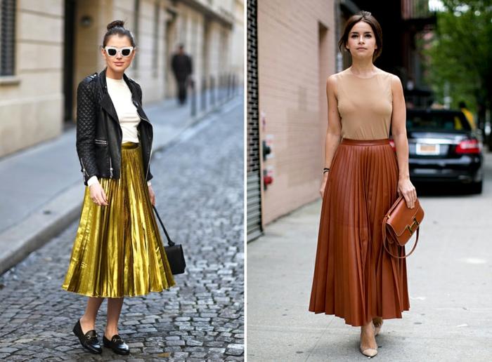 jupe taille haute évasée, jupe plissée couleur doré ou marron, top couleur nude