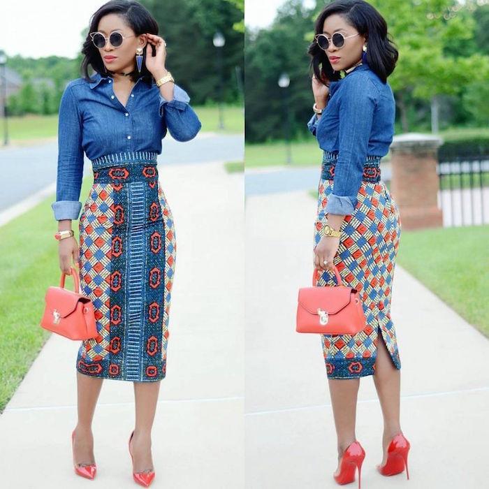 modele jupe pagne crayon tube dessous genoux bleu denim avec chemise en jean
